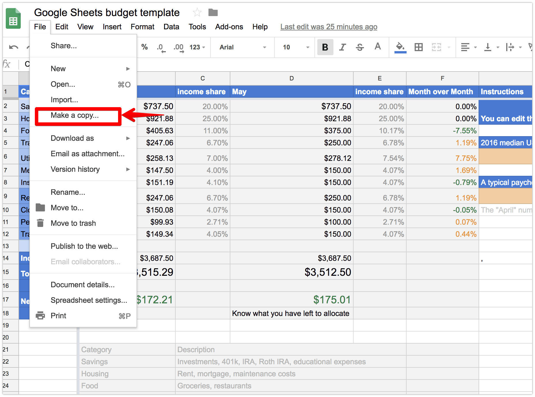 screenshot of template budget google sheets